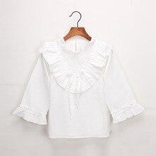 Рубашка из чистого хлопка для девочек; коллекция года; сезон весна; стиль; детская рубашка с длинными рукавами и оборками; топы в Корейском стиле; универсальная рубашка