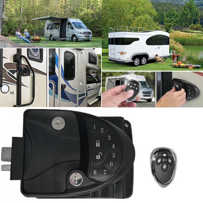 RV Remote Lock Camper Caravan Trailer Entry Door Lock Latch Knob Deadbolt U1JF