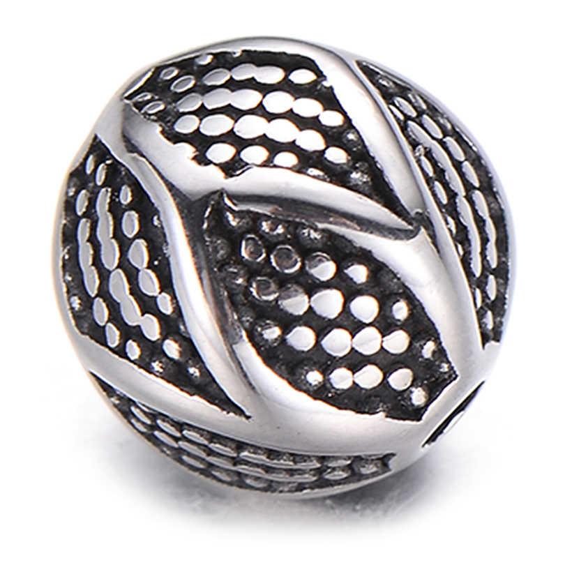 Pipitree, perlas de acero inoxidable únicas de Bali, patrón geométrico, cuentas redondas DIY, espaciadores sueltos, pulsera, accesorios para hacer joyería