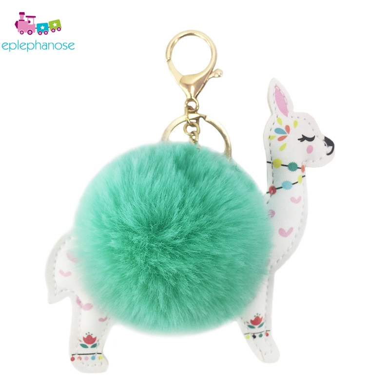 Lovely 12cm White Alpaca Llama Kawaii Plush Toys Keychain Pendant Doll Stuffed Animals Fluffy Pompom Soft Faux Rabbit Fur Toy
