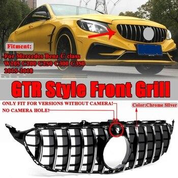 W205 GT R GTR dla AMG Grill kratka przedni zderzak samochodowy siatka dla mercedesa dla Benz W205 dla AMG wygląd C200 C250 C300 C350 2015-2018