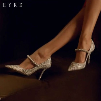 цена на HYKD Wedding shoes pointy high-heeled shoes spring 2020 new sequined single shoe drill with crystal bridesmaid shoes silver