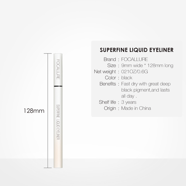FOCALLURE Black Liquid Eyeliner Pencil Waterproof hours Long Lasting Eye Makeup smooth Superfine Eye Liner