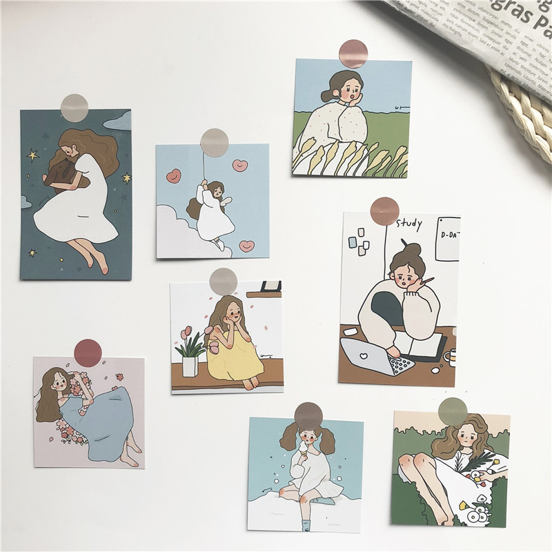 SIXONE Ins 8 Sets Cute Girl Creative Decorative Cards Postcard Photograph Prop Decoration Painting Suit Sticker Metope Card