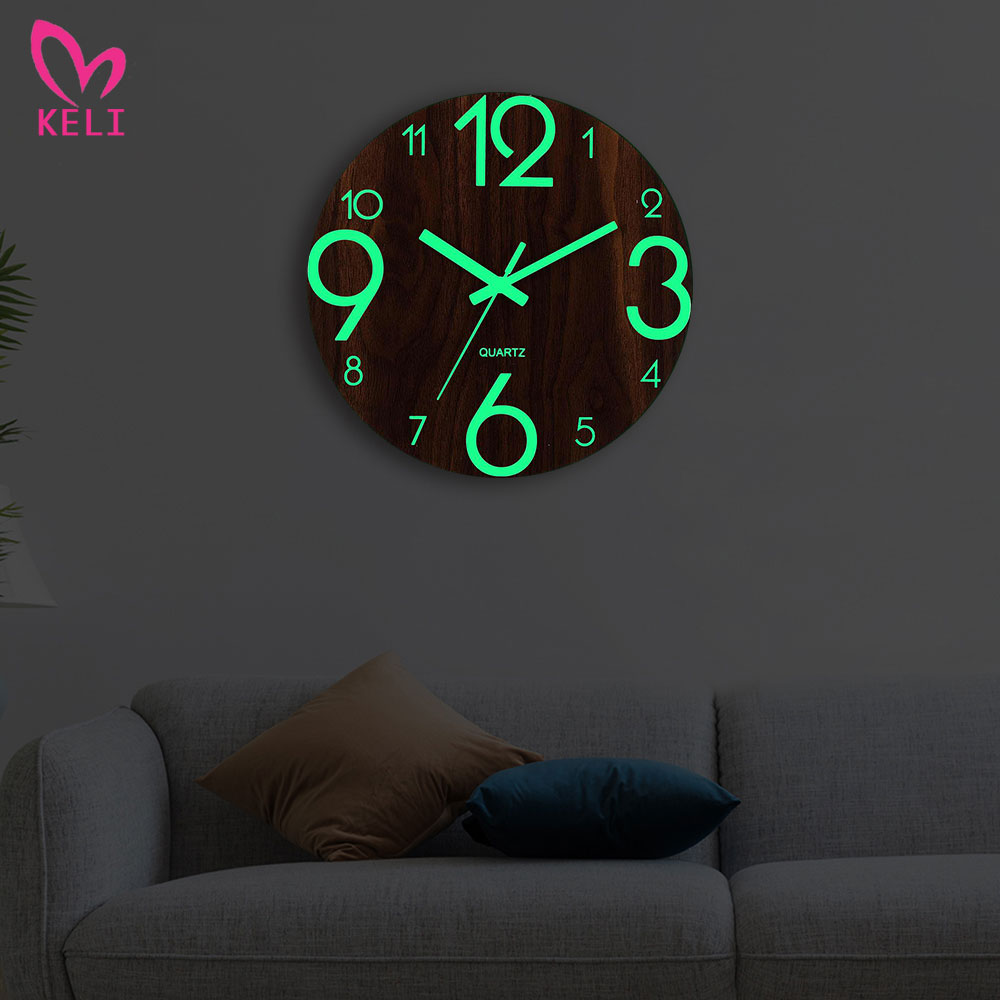 Wooden Wall Clock Luminous Number Hanging Clocks Quiet Dark Glowing Wall Clocks Modern Watches Home Decor Modern Christmas Gift