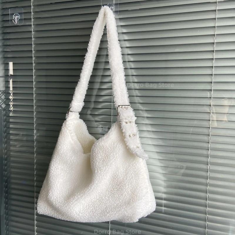 Shopping Women Fluffy Shoulder Bag Solid Plush Handbags Female Winter Totes Purse