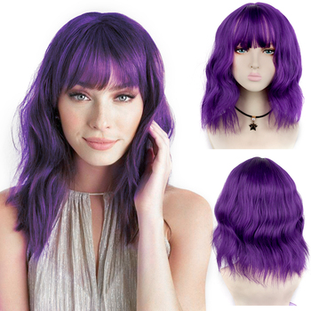 цена на AIYEE Short Wavy BOB Wigs Synthetic Wigs with Bangs for Black Women Heat Resistant Christmas Cosplay Wig Purple Wig