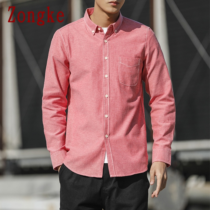 Zongke 2020 New Spring Casual Long Sleeve Shirt Men Slim Fit Social Solid Men Shirt Male Clothing Fashion Brand Tops M-5XL