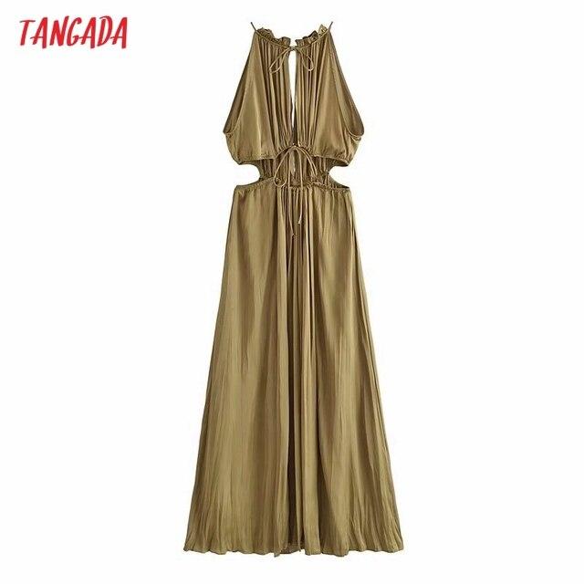 Tangada Women Sexy Satin Cut-out Dress Sleeveless Backless 2021 Summer Fashion Lady Dresses 3H788 1
