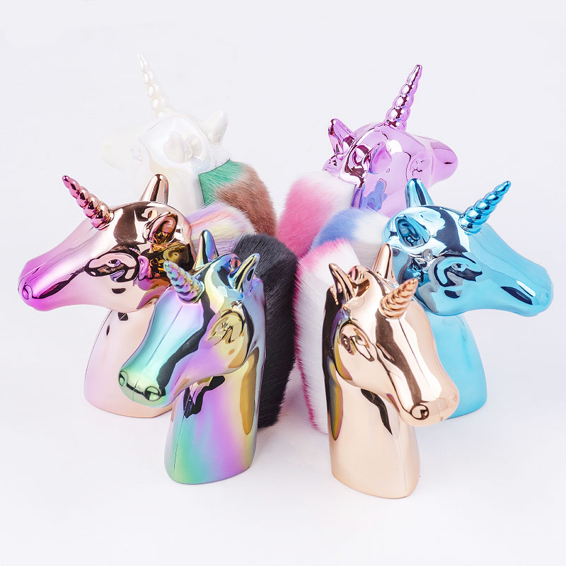 1Pc Rainbow Unicorn Design Nail Art Glitter Brush Acrylic UV Gel Polish Powder Remove Dust Clearing Pen Nails Manicure Tools