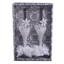 2 шт./компл. Свадебные Стекло es имитация жемчуга розового цвета шампанского вина высокого Стекло чашка Свадебные Юбилей подарок питьевой Стекло es