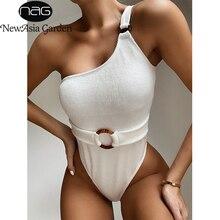 NewAsia الصلبة الحياكة ملابس النساء قطعة واحدة ملابس السباحة مبطن مثير بيكيني 2020 سيدة شاطئ المايوه ضمادة المايوه