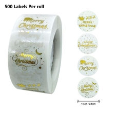 500pcs/Roll Round Clear Merry Christmas Sticker Thank You Card Box Package Seal Label