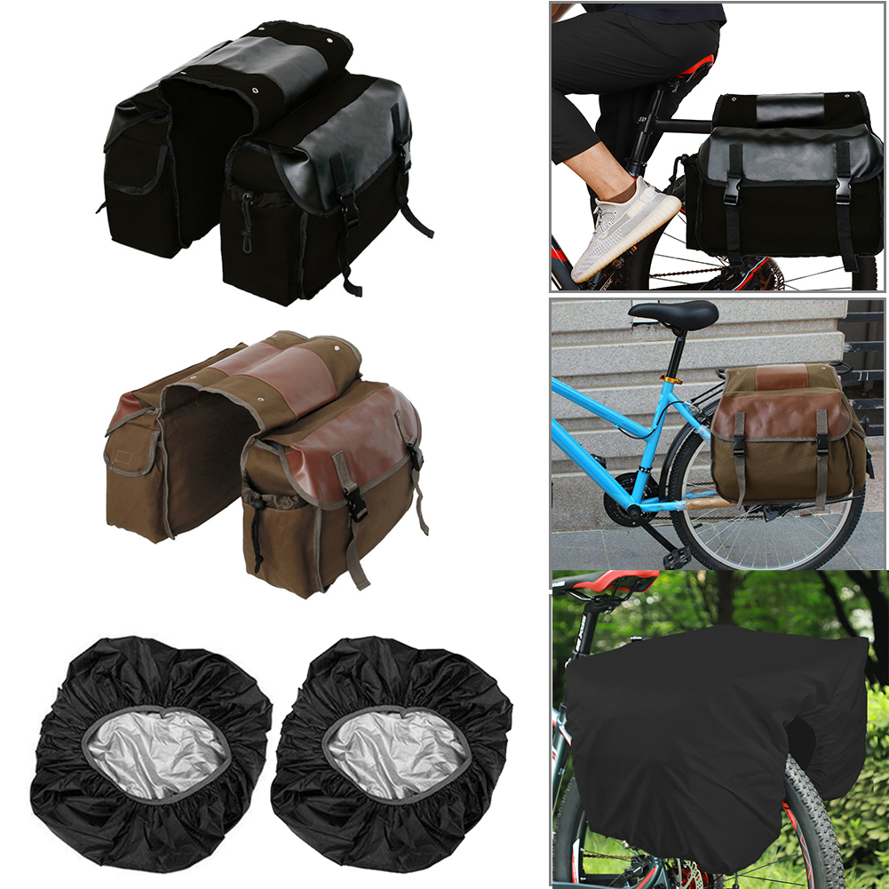 MTB Mountain Bicycle Pannier Bag Pack Rear Bike Luggage Carrier Cycling Canvas