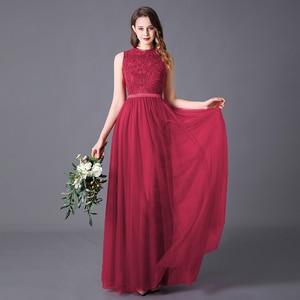 Image 3 - Evening Dress A line High Neck Long Dress Floor Length Sleeveless Chiffon Elegant Evening Party Gowns Appliques Wedding Guest
