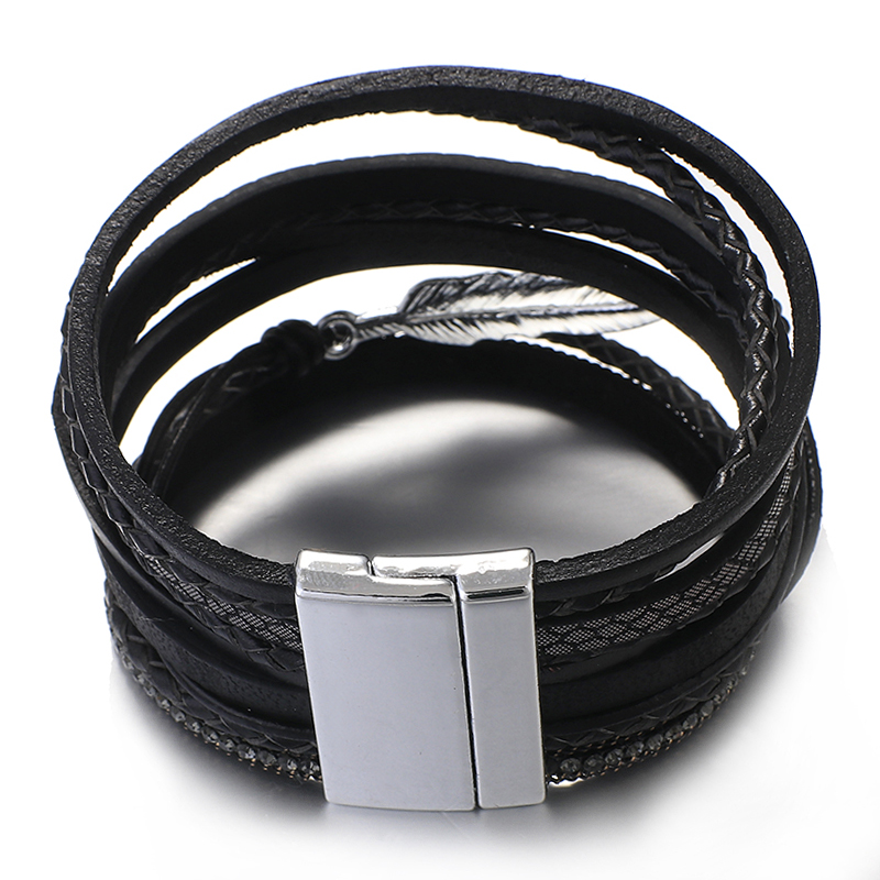 Amorcome Metal Feather Genuine Leather Bracelet for Women Jewelry Fashion Multilayer Bohemian Charm Wide Bracelets & Bangles 4