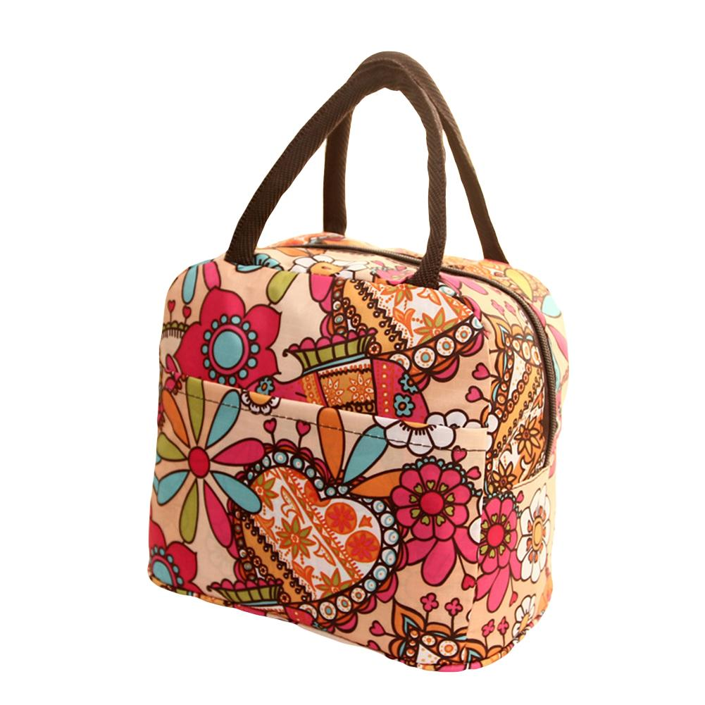 Women Colorful Print Thermal Insulated Cooler Nylon Pouch Tote Picnic Lunch Bag