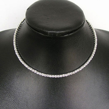 Silver Color Crystal Stretch Rhinestone Chain Choker Necklace for Women Party Collar Necklace Jewelry Gift chic rhinestone faux crystal oval necklace for women