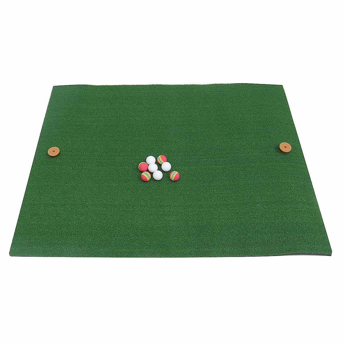 125X100cm Indoor Backyard Golf Mat Training Hitting Pad Practice Rubber Tee Holder Grass Mat Grassroot Green Golf Training Tools