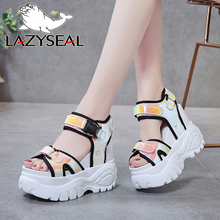 LazySeal 11cm Height Increasing Platform Sandals Women Bottom 2020 Chunky Heel S