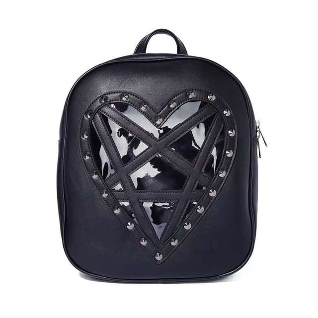 US $30 49 56% OFF|Rosetic Women Bag Backpack Gothic Pentagram Black Dark  Harajuku Style Transparent Love Studded Gothic Backpack-in Backpacks from