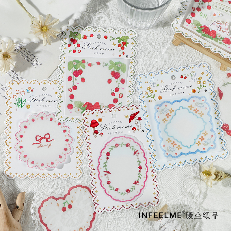 30 Sheets Lace Frame Strawberry Memo Pad Cute Message Notes Decorative Notepad Note Paper Memo Stationery Office Supplies