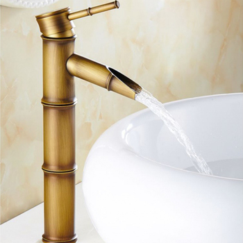 Antique Brass Bamboo Bathroom Sink Faucet Lavatory Vessel Sink Hot and Cold Water Crane Taps Deck Mount One Handle