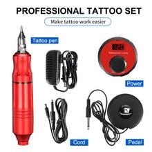 Mais vendido profissão rotativa caneta tatuagem máquina conjunto caneta tatuagem mágico lcd power pedal tatuagem fornecimento de entrega gratuita