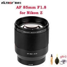 Viltrox 85mm f1.8 stm lente da câmera quadro completo foco automático retrato lente principal olhos foco af para nikon z montagem z5 z50 z6 z6ii z7 ii