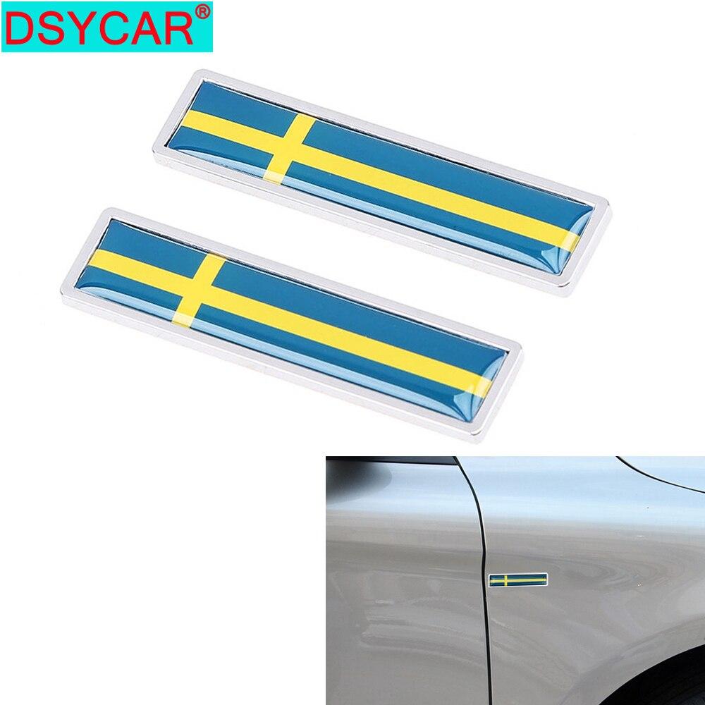 DSYCAR 1 Paar Mode 3D Metall Schweden Flagge Auto Aufkleber Schmücken Aufkleber Emblem Abzeichen für Universal Autos Neue