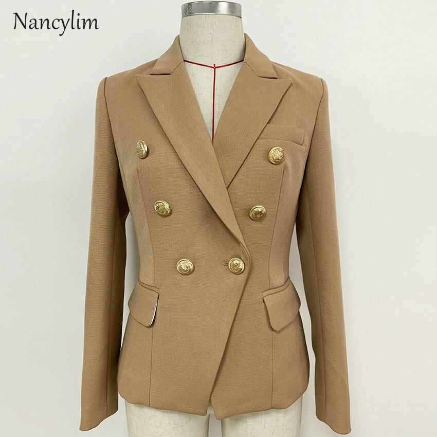 Jacket Women High Quality Female Suit Jacket Classic Double-breasted Thick Blazer Mujer Blazer Feminino Chaqueta Mujer Nancylim