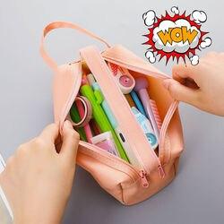 Estojo de tecido de grande capacidade, bolsa criativa para lápis, caneta, material de escritório e escola, 05089, 1 peça