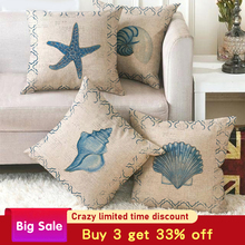Pillowcase sofa cushion cover decoration linen pillow case decorative marine pattern throw couch