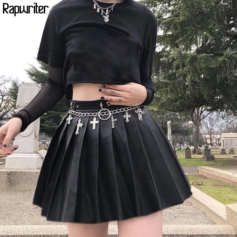 Rapwriter Gothic Women's Skirt Back Zipper Leather Mini Skirt Women 2020  Pleated Skater Micro Skirts Korean Style Short Saias