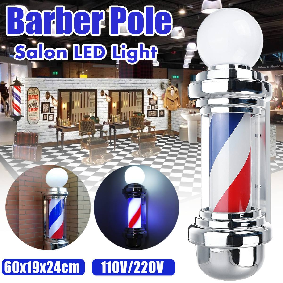 LED Barber Shop Sign Pole Light Red White Blue Stripe Design Roating Salon Wall Hanging Light Lamp Beauty Salon Lamp