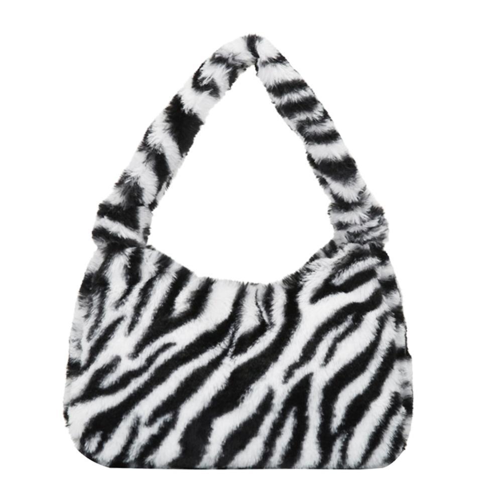 Women Winter Plush Fur Shoulder Underarm Bag Soft Fluffy Warm Totes Handbag Bags