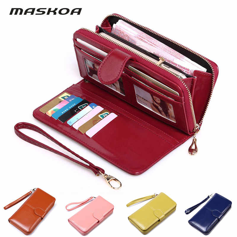 Wallet women of large capacity double zipper ladies fashion wallets floral minimalist leather multifunction card package handbag