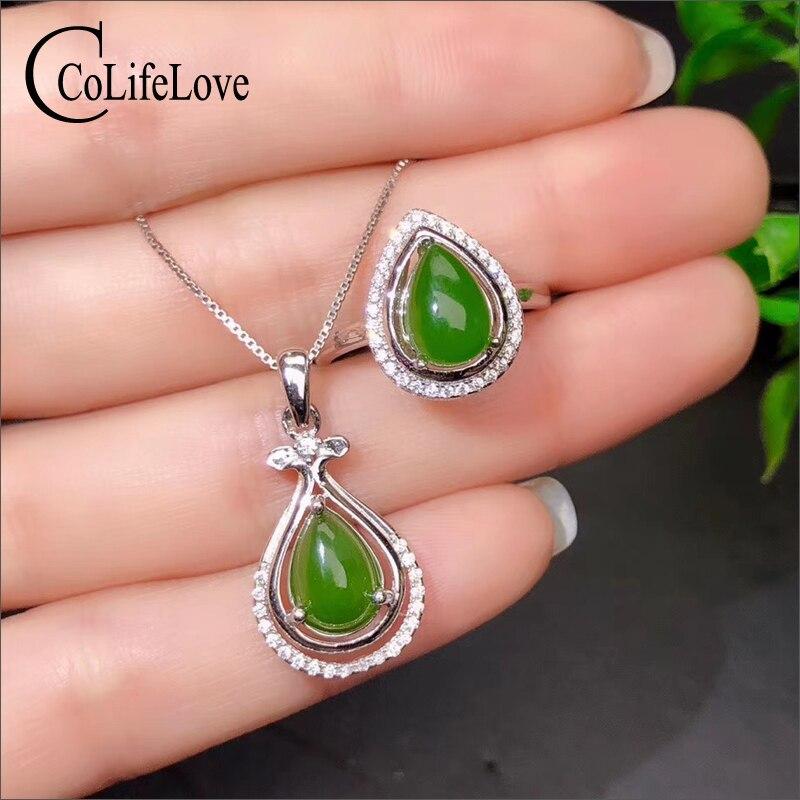 CoLife bijoux Style chinois jaspe ensemble de bijoux pour la fête 7mm * 9mm poire coupe jaspe bague en argent pendentif cadeau d'anniversaire pour femme