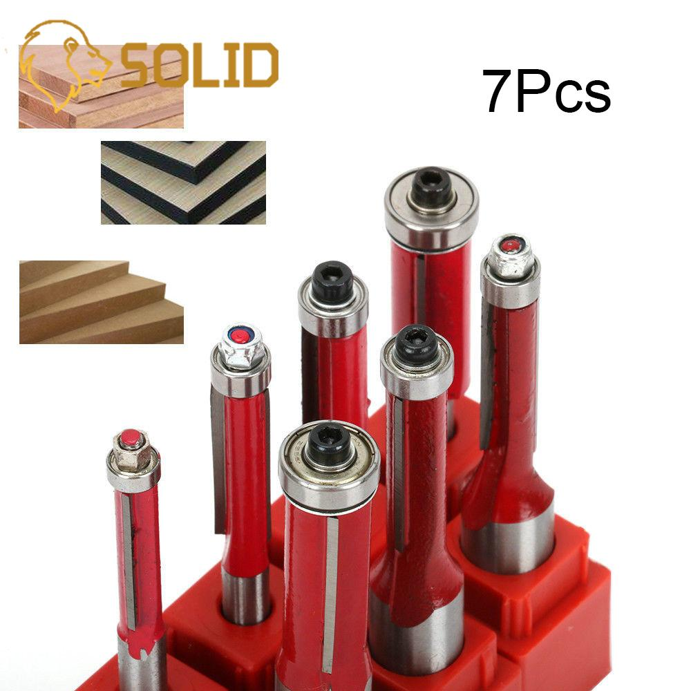 Trimming Router Bit Set 1 2inch 1 4inch Shank Carpentry Flush Trim Bit Carving Router Bit Cutter Tool for Wood 6-12mm 7Pcs