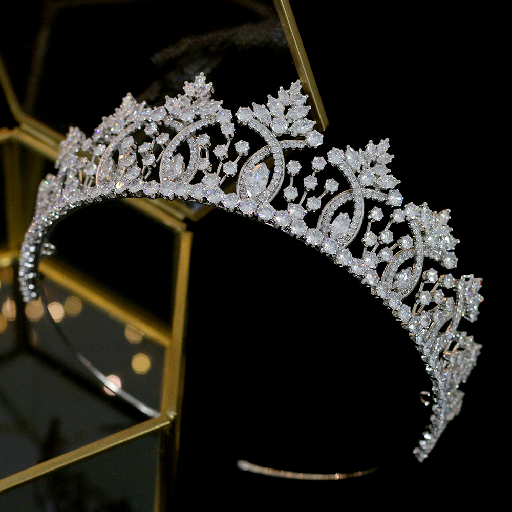 Image 3 - Винтажная тиара в стиле барокко с кристаллами, свадебные аксессуары для волос, Высококачественная свадебная корона из циркония, свадебные аксессуары для сопряжения-in Украшения для волос from Украшения и аксессуары