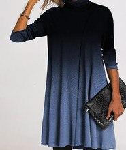 3XL femmes printemps dégradé couleur col roulé robe de grande taille ample robes élégantes pour les femmes Eam robe robe moulante non définie