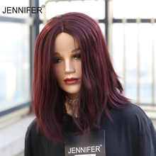 Short Wig Synthetic-Wig Lace Straight Women 4-Color Green/613 for Middle-Parting Bob