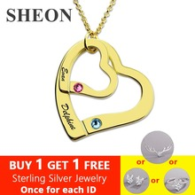 SHEON 925 Silver Personalized Customized Necklace Engraved Double Hearts Necklace With Birthstones Valentine Gift for Lover ailin personalized two name hearts necklace engraved initial hearts mother birthstone silver mother necklace christmas gift