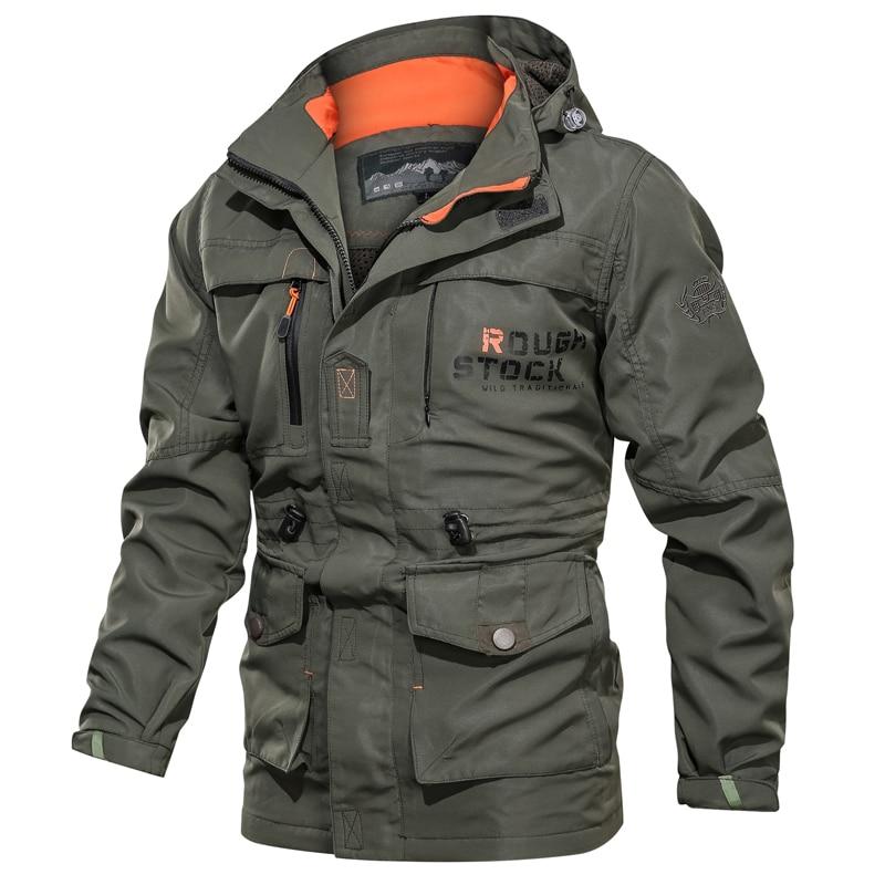 Men Military Jacket Casual Tactical Pilot Coat Windbreaker Male New Zipper Bomber Jackets Mens Hooded Overcoats Windproof Pocket