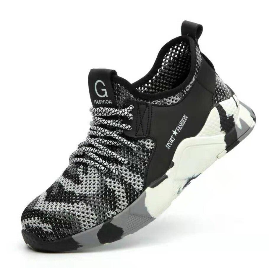 Легкая дышащая мужская защитная обувь со стальным носком Рабочая обувь для мужчин анти-разбивая конструкция кроссовки - Цвет: pic color shoes 3
