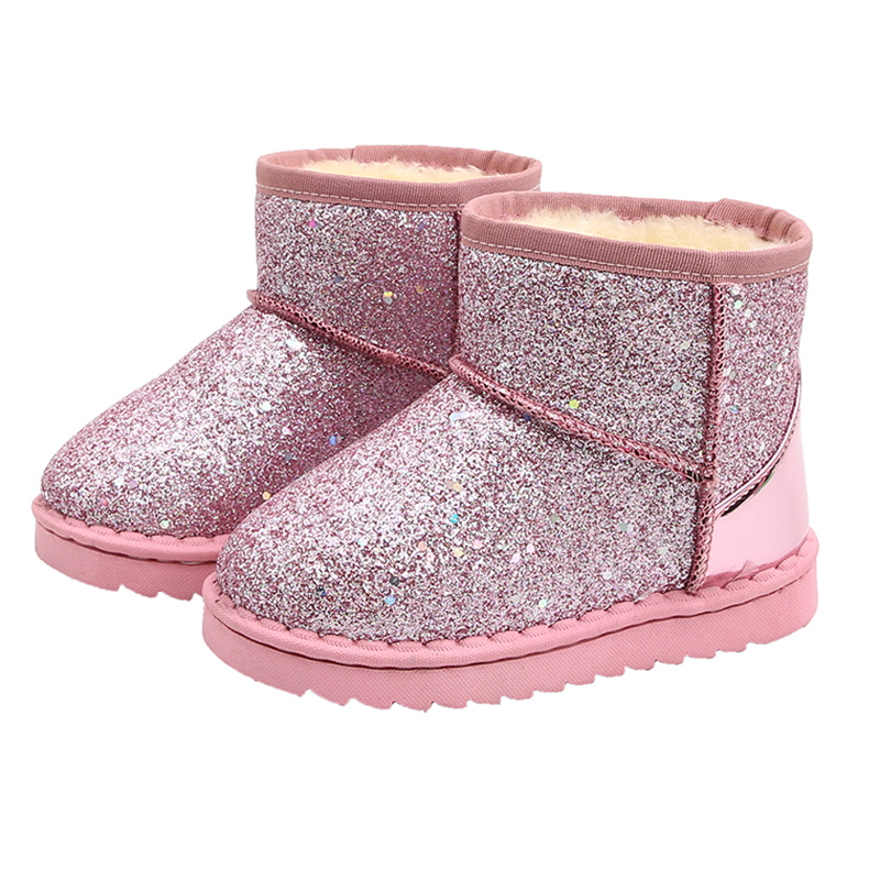 COZULMA Kids Baby Toddler Bling Shoes Child Winter Sequins Snow Boots Plush Thicker Sole Boys Girls Snow Boots Shoes Size 25-36