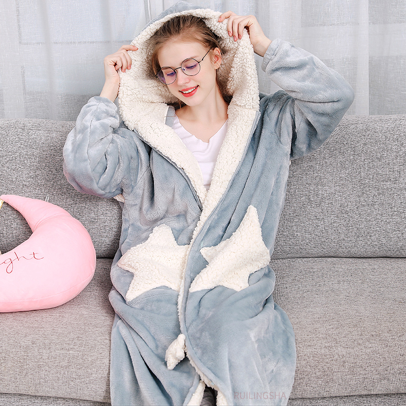 Women Winter Star Moon Plus Size Long Warm Flannel Bathrobe Pregnant Zipper Bath Robe Hooded Night Dressing Gown Men Sleepwear