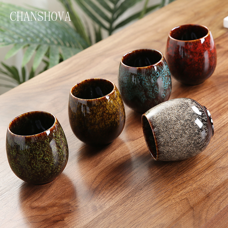 CHANSHOVA 150ml To180ml Chinese Retro Handmade Random Texture Color Glaze High Temperature Firing Ceramic Teacup Porcelain H338