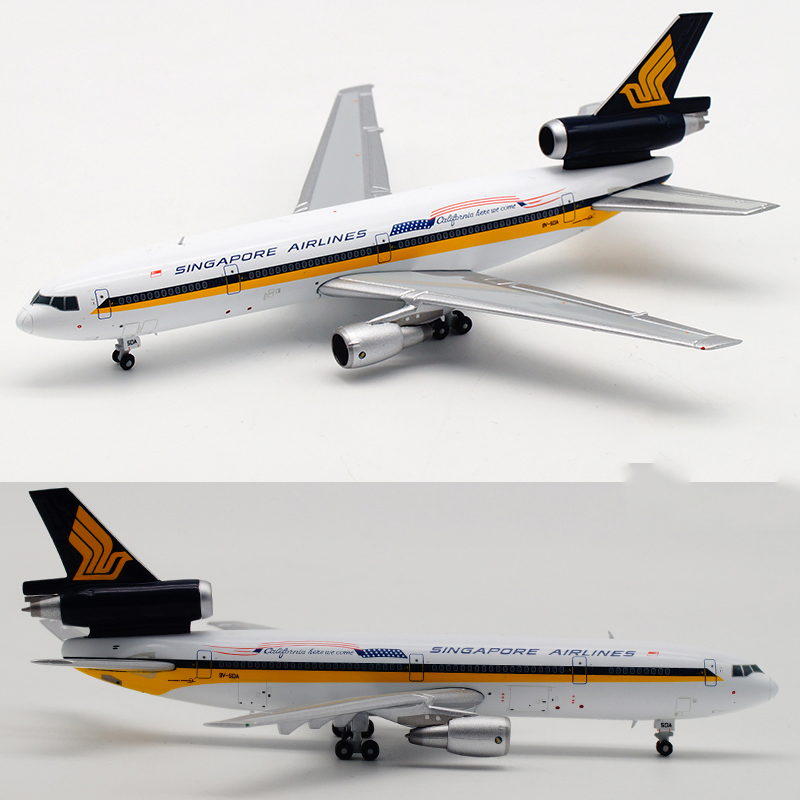 1/400 Scale McDonnell-Douglas Singapore Airlines DC-10-30 Plane Model Alloy Aircraft Collectible Display Airplanes Collection