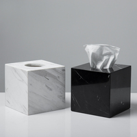 Natural Stone Marble Tissue Box Holder with Removable Transparent Bottom